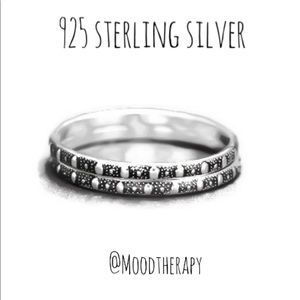Set of 2 Oxidized Patterned Stackable Rings